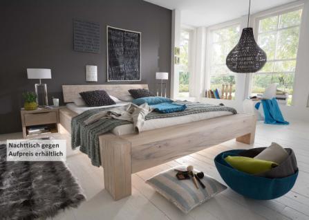 Bett Systembett massiv Eiche Balkeneiche white wash rustikal Überlänge möglich - Vorschau 1
