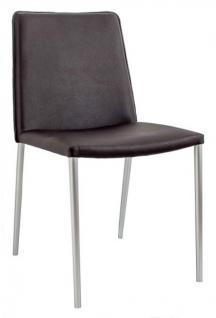 Bürostuhl Stuhl Esszimmer schwarz Kunstleder Stahl Vier Füße - Vorschau