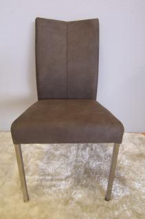 Esszimmerstuhl Polsterstuhl Stuhl Edelstahl gebürstet Stoff grau