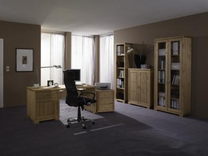 Arbeitszimmer Schreibtisch Bücherregal Rollcontainer Regal Kiefer massiv