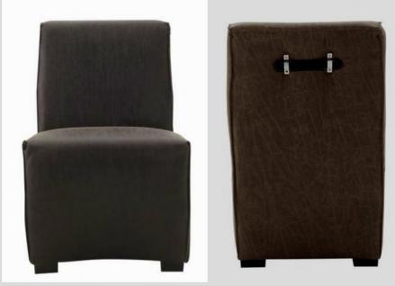 Polsterstuhl Stuhl Set Stuhlset Leder dunkelbraun Ledergriff recycelt vintage - Vorschau