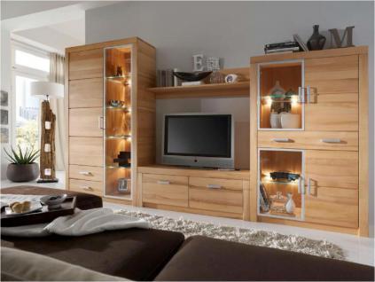 Anbauwand Wohnwand Wohnzimmerwand 4-teilig Kombi Kernbuche Wildeiche massiv - Vorschau 1