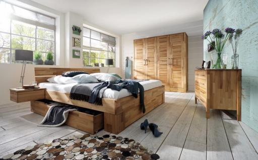 Schlafzimmer Set Kompletteinrichtung Kernbuche massiv geölt Bett Schrank Kommode - Vorschau 1