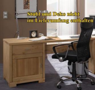 Arbeitszimmer Schreibtisch Bücherregal Rollcontainer Regal Kiefer massiv - Vorschau 2