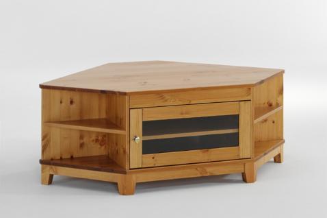 Fernsehtisch Phonomöbel Ecktisch TV Möbel Wohnzimmertisch Kiefer massiv antik - Vorschau 1