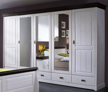Schrank Kleiderschrank 5türig Spiegeltüren Schubladen Landhausstil Kiefer massiv - Vorschau 2