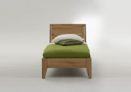 Bett Jugendbett Einzelbett Überlänge Kernbuche massiv geölt Traumbett - Vorschau 1