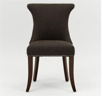 Polstersessel Polsterstuhl 2er Set Sessel mit Ziernägeln Stoff / Beine braun - Vorschau 1