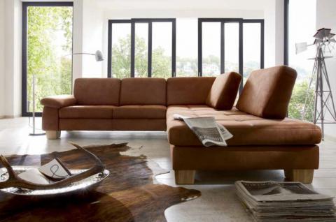 Eckgruppe Polsterecke Sofa Couch Textilsofa Ecksofa Eckcouch hasel braun - Vorschau 1