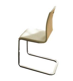 Freischwinger Stuhl Set Stühle Ledersitz Echtholzfunier Kernbuche geölt - Vorschau 1