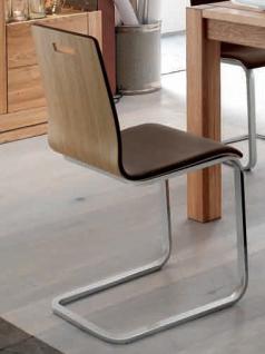Freischwinger Stuhl Set Stühle Ledersitz Echtholzfunier Eiche geölt gepolstert - Vorschau 1