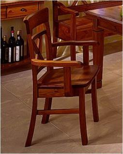 Armlehnstuhl Esszimmerstuhl Holzstuhl Sessel 2er Set mit Holzsitz Kiefer massiv