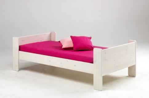 Kinderbett Bett Jugendbett Einzelbett Kiefer massiv natur lackiert weiß