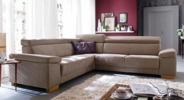 Polsterecke Couch Sofa Polstersofa dunkel beige Textilsofa Erle Funktionen - Vorschau 1