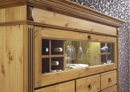 highboard anrichte barschrank mit flaschen glashalter kiefer massiv patiniert kaufen bei. Black Bedroom Furniture Sets. Home Design Ideas