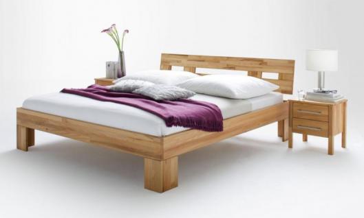 Bett Einzelbett Doppelbett Jugendbett Holzbett Nachtkommode Kernbuche massiv geölt - Vorschau 1