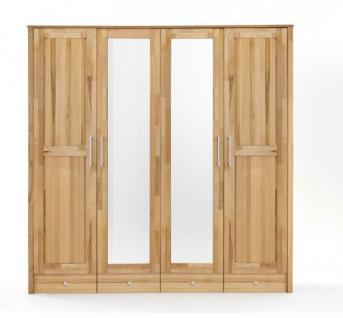 Schrank Kleiderschrank Holzschrank Schubladen Spiegel Kernbuche massiv - Vorschau 3