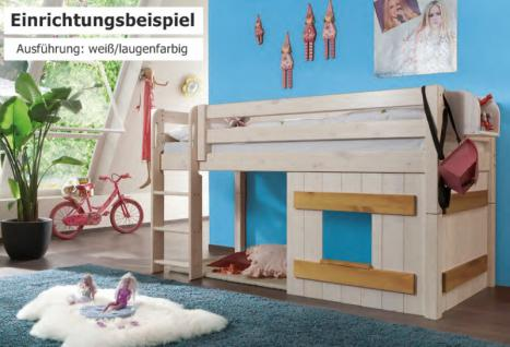 Hochbett Bett Kinderbett Kinderzimmer Kiefer massiv weiß natur gelaugt