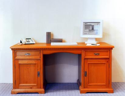 Schreibtisch Computertisch Arbeitstisch Bürotisch Fichte massiv antik - Vorschau 1