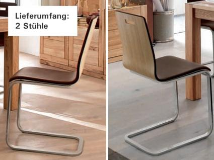 Freischwinger Stuhl Set Stühle Ledersitz Echtholzfunier Eiche geölt gepolstert - Vorschau 2