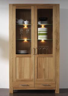 vitrine vitrinenschrank wohnzimmerschrank eiche massiv ge lt satin wei glas kaufen bei saku. Black Bedroom Furniture Sets. Home Design Ideas