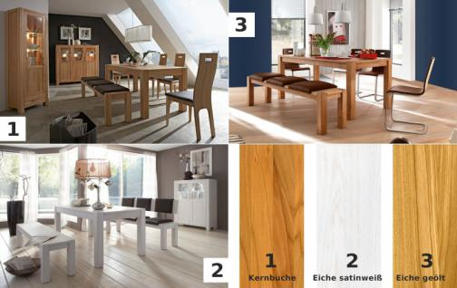 Wohnzimmer Esszimmer Wohnraum Kompletteinrichtung Eiche massiv geölt satin weiß - Vorschau 3