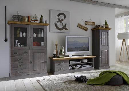 Wohnwand TV Wand Wohnzimmer Set Vitrine Schrank TV-Board Kiefer massiv Landhaus - Vorschau 1