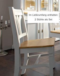 Stuhl Stühle Esszimmerstuhl 2er Set Küchenstuhl Esszimmer Fichte massiv weiß - Vorschau 2