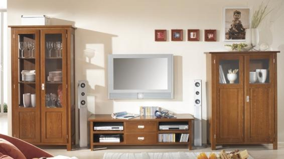 wohnwand wohnzimmerwand wohnzimmer tv buche massiv landhaus lackiert kaufen bei saku system. Black Bedroom Furniture Sets. Home Design Ideas