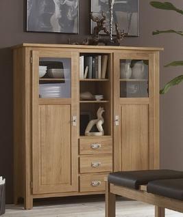 Highboard Vitrinenschrank Sideboard Wohnzimmerschrank Eiche massiv geölt - Vorschau 1