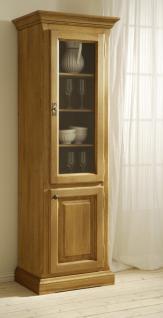 vitrinenschrank vitrine hochschrank eiche massiv ge lt landhausstil kaufen bei saku system. Black Bedroom Furniture Sets. Home Design Ideas