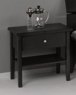 Nachtkommode Kommode Nachttisch Ablage Nachtkonsole Kiefer schwarz massiv - Vorschau 1