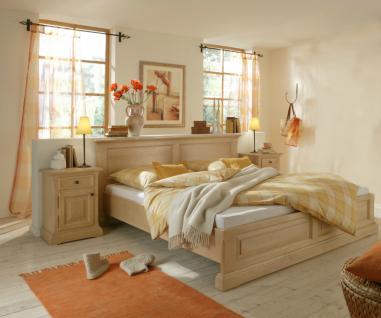 Bett Doppelbett Ehebett mit Nachtkommode Schlafzimmer Fichte massiv hell