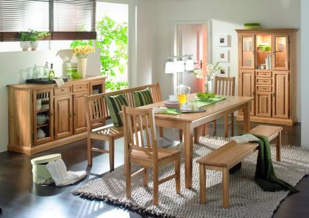 esszimmer einrichtung essgruppe sideboard vitrine eiche massiv ge lt natur kaufen bei saku. Black Bedroom Furniture Sets. Home Design Ideas