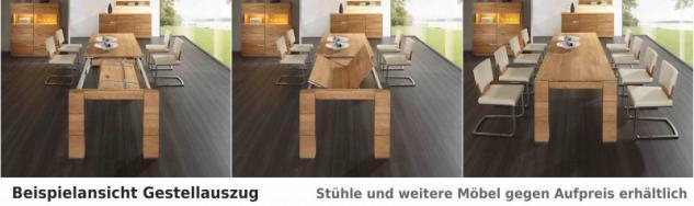 Tischgruppe Essgruppe Esszimmer Tisch Stuhl Gestellauszug Asteiche Leder massiv - Vorschau 2