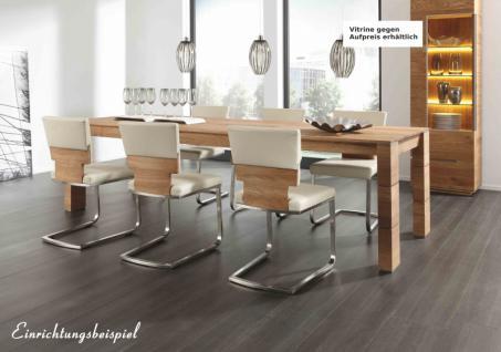 Tischgruppe Essgruppe Esszimmer Tisch Stuhl Gestellauszug Asteiche Leder massiv