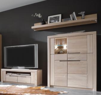 Wohnwand Vitrine TV-Board Wandboard Wildeiche massiv Bianco made in germany