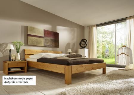 Bett Systembett Schlafzimmer Kiefer massiv gelaugt geölt Überlänge Kopfteil - Vorschau 1