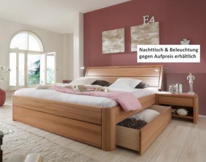 Schubkastenbett Doppelbett aus massiver Kernbuche Überlänge möglich soft - Vorschau 1