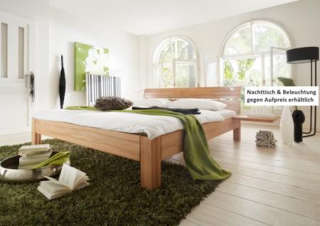 schlichtes Bett Doppelbett massive Kernbuche Überlänge möglich modern - Vorschau 1