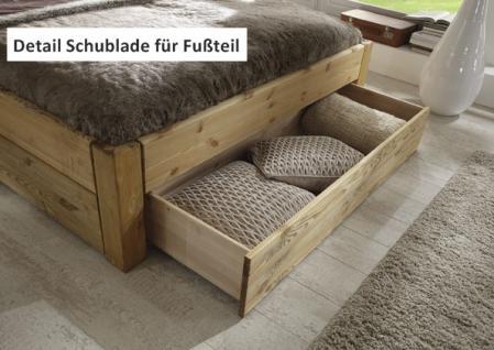 Schubkastenbett Schublade im Fußteil Doppelbett Kiefer massiv gelaugt geölt - Vorschau 5