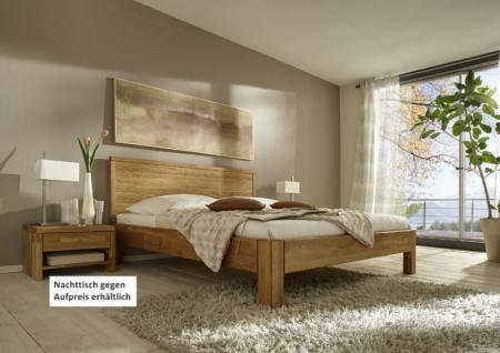 Bett mit Kopfteil Doppelbett massive Eiche Überlänge vollmassiv rustikal - Vorschau 1