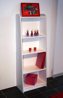 Bücherregal Regal Raumteiler Schrägregal schräg Kiefer massiv weiß lasiert