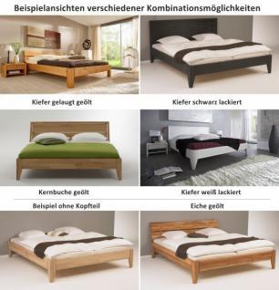 Bett Kopfteil Doppelbett massive Eiche Überlänge vollmassiv rustikal runde Füße - Vorschau 2