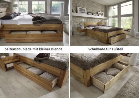 Bett Kopfteil Doppelbett massive Eiche Überlänge vollmassiv rustikal runde Füße - Vorschau 4