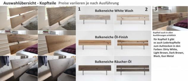 Bett Systembett massiv Eiche Balkeneiche white wash rustikal Überlänge möglich - Vorschau 3