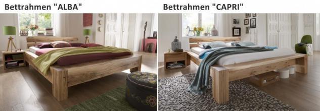 Bett Systembett massiv Eiche Balkeneiche white wash rustikal Überlänge möglich - Vorschau 4