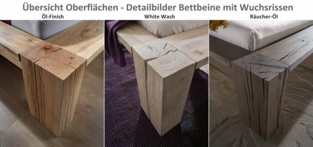 Bett massives Doppelbett mit Wuchsrissen Eiche Balkeneiche räucher öl rustikal - Vorschau 2