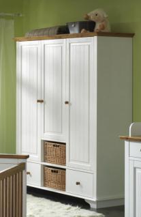Babyzimmer Babybett Wickelkommode Schrank Regal Kiefer massiv weiß braun klassik - Vorschau 3
