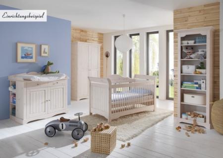 Schrank 2 türig Kleiderschrank Kiefer massiv weiß romantisch süß Baby - Vorschau 2